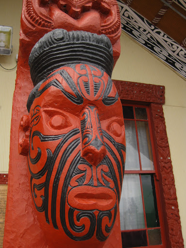Carvings at the marae, the meeting hall in the village