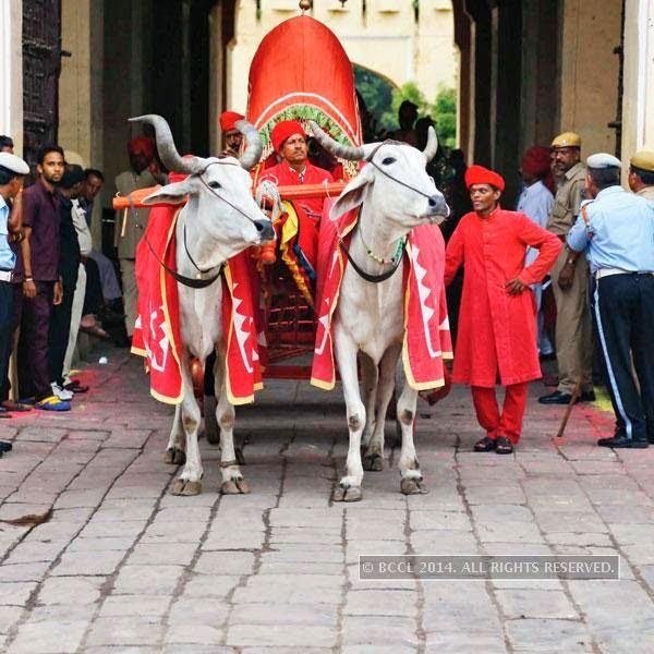 Jaipurites during Teej procession in Jaipur.