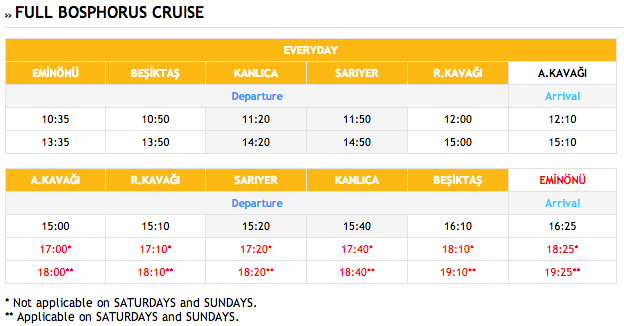 bosphorus cruise schedule