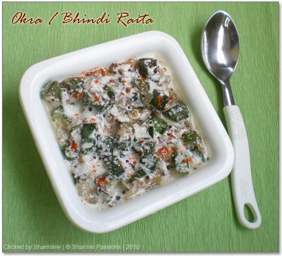 Bhindi or Okra Raita / Vendaka Thayir Pachadi