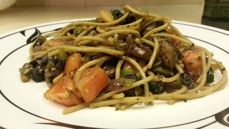 Whole Wheat Pasta with Portabella Mushrooms and Spinach