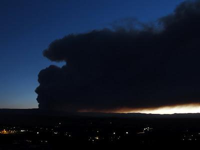 Seeley fire smoke plume after dusk