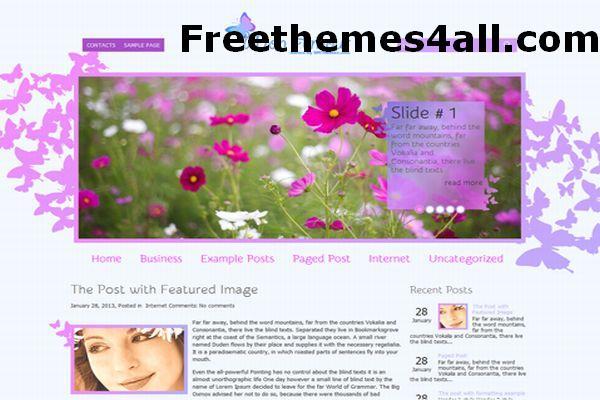 Free WordPress Pink Floral Theme Template
