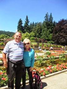 Bob and Trish Fritz in Butchart Gardens in Canada
