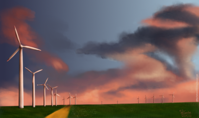 Digital painting of a landscape with wind turbines.