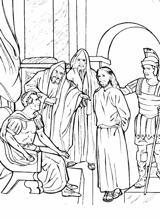 Jesús condenado a muerte para colorear