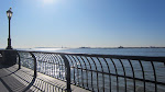 Sitting at the Hudson River with the Statue of Liberty in the distance