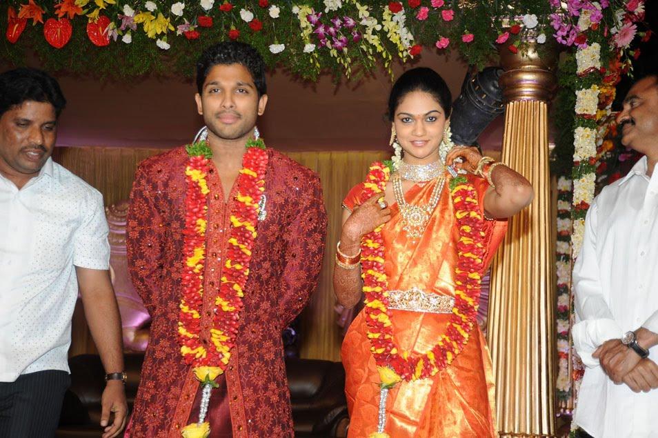 ... dress,allu arjun marriage reception stills,allu arjun wedding photos