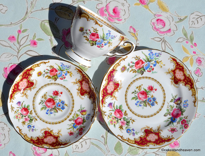 Tuscan Windsor pattern vintage china teacup trio