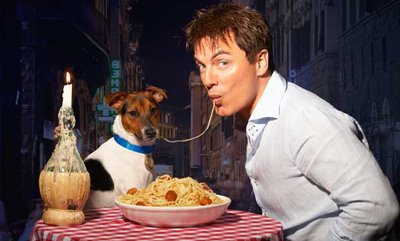 John Barrowman and a dog doing Lady and the Tramp