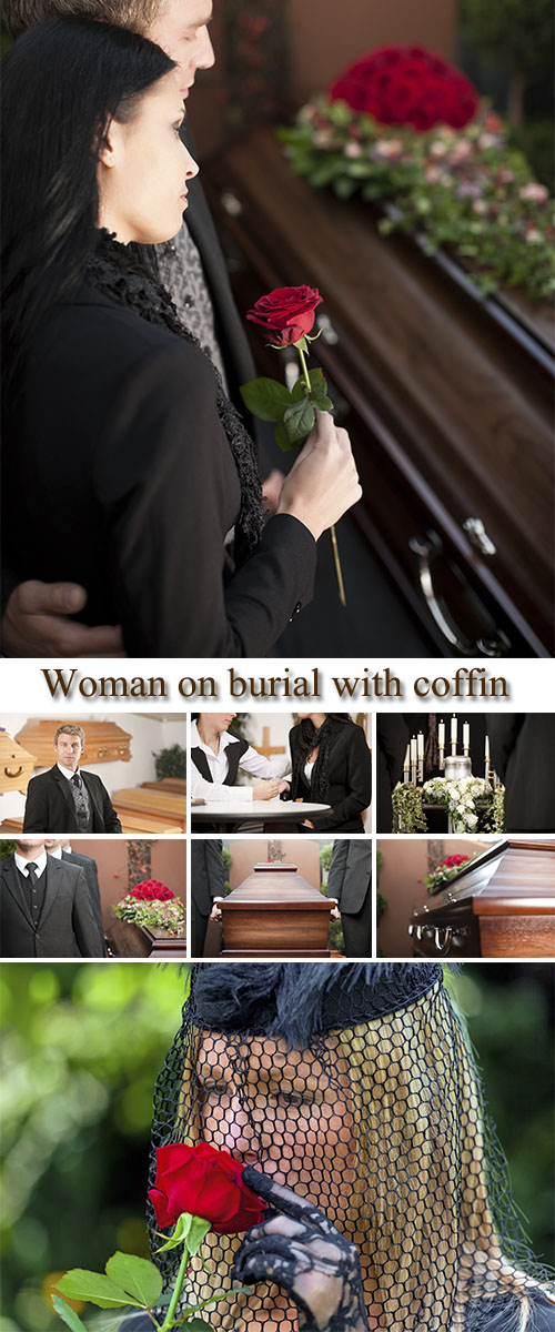 Stock Photo: Woman on burial with coffin