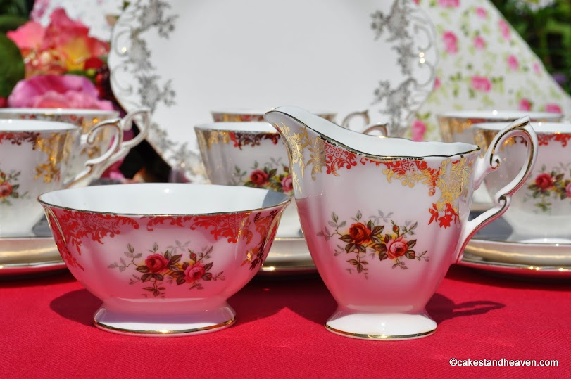 Red Rose and Gold Filigree Milk Jug and Sugar Bowl