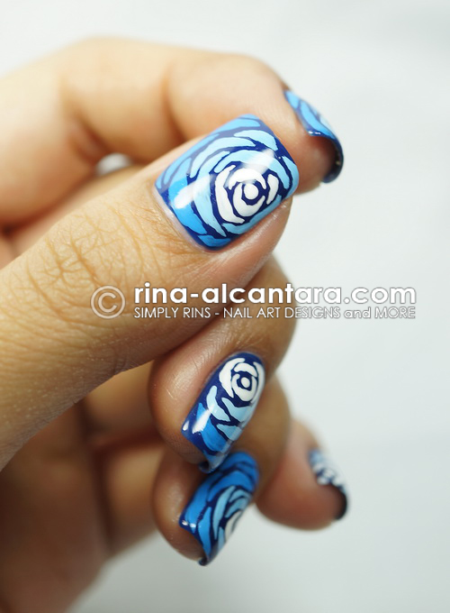 Blue Wave Nail Art Design - Thumb