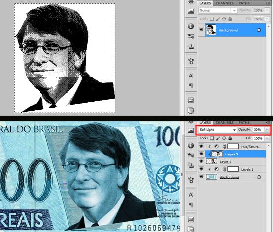 Imagem após conversão para Bitmap em Halftone Screen, e depois, aplicada na cédula