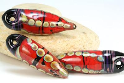 Red Pod Lampwork Talisman Pendants by Lori Lochner