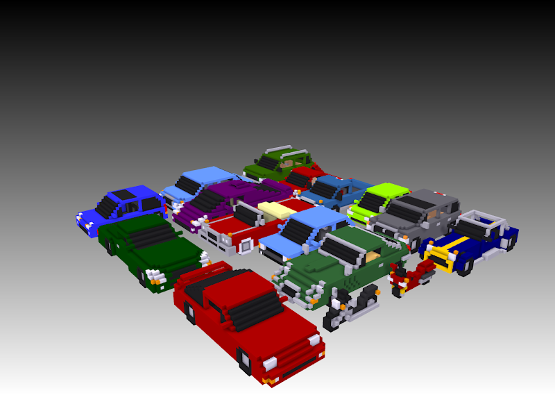 voxel cars trucks motorcycles