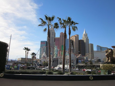 vegas skyline newyork palm trees stock photo