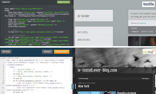 Editeur de code sur Tumblr et overblog