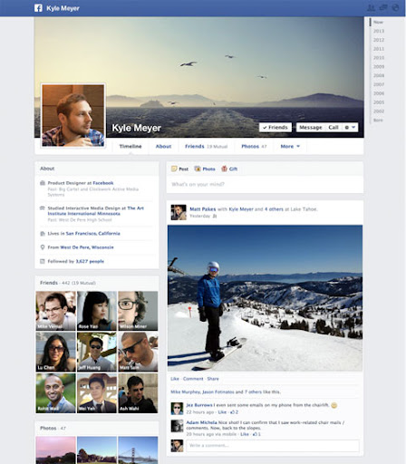 Single Column Facebook Timeline launched in March 2013
