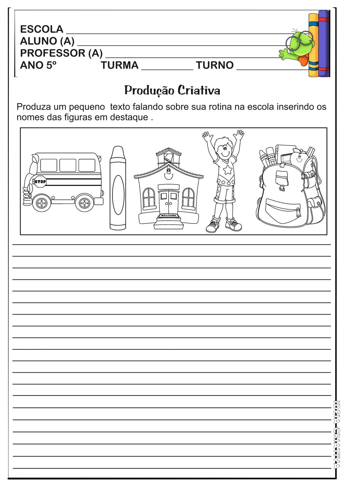 Suficiente Atividade Produção Textual/ Dia da Escola | Ideia Criativa - Gi  IJ97