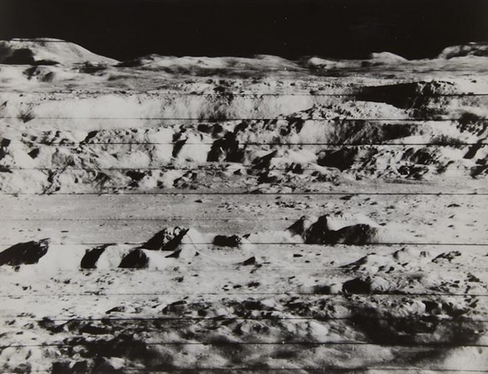 Copernicus crater and its mountainous landscape, Lunar Orbiter 2, November 1966