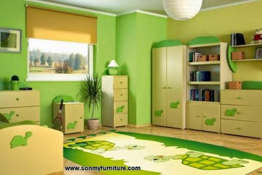 Thiết kế nội thất phòng ngủ với gam màu xanh tươi mát_CONG TY NOI THAT-3