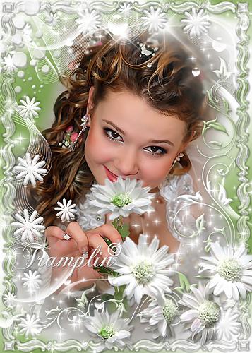 Рамка  для Photoshop – И на тебя доверчиво глядят белые цветы, как дети в колыбели