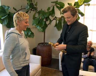 Colin Firth conversa com Ellen DeGeneres no GNT