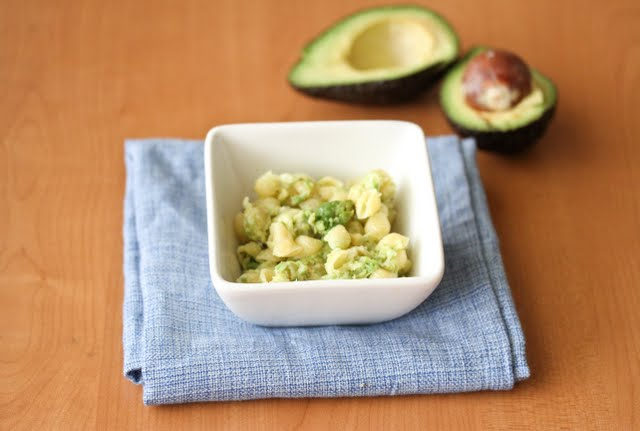 overhead photo of a bowl of Avocado Macaroni and Cheese