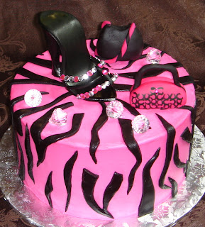 Ladies custom designed pink and black diva birthday cake with sugar shoe, handbags and faux diamonds