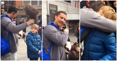 Cristiano Ronaldo disfarçado de sem-abrigo surpreende criança