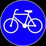 C-13  droga dla rowerów  Znak nakazuje kierującemu rowerem jednośladowym jazdę drogą dla rowerów.