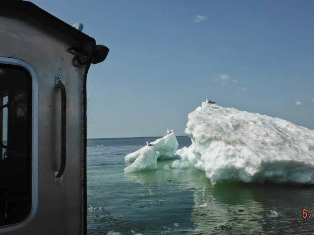 Frigid water and icebergs in Lake Superior appear to counter global warming