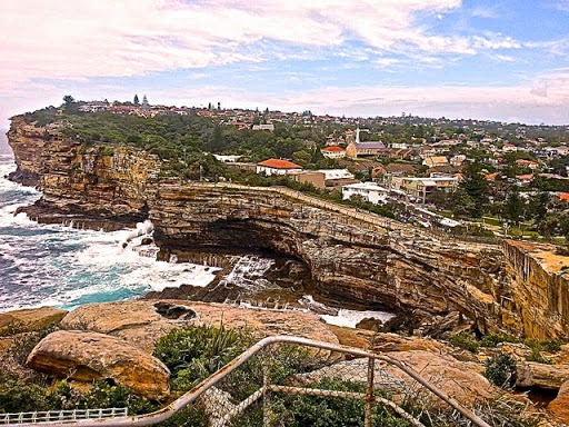 Rugged cliffs that took the Dunbar. From Walking Sydney: North Bondi to South Head