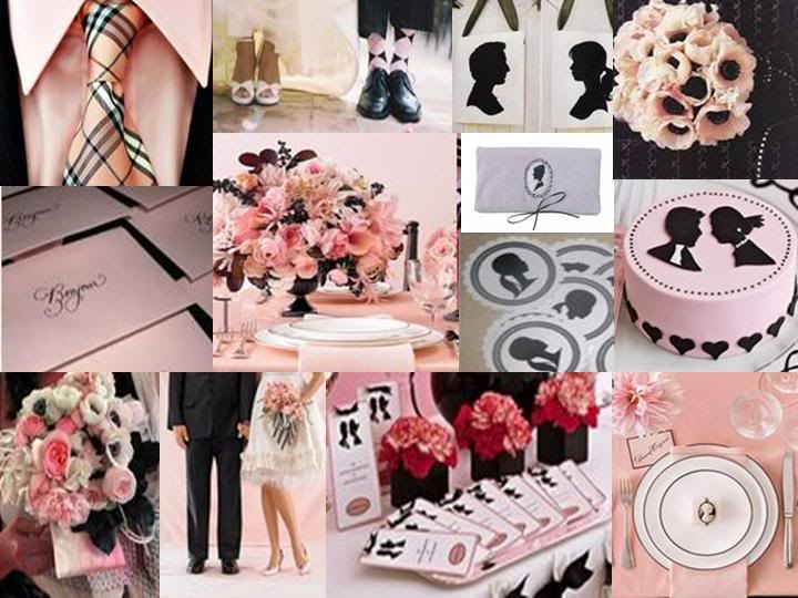 Light Pink Black Wedding Themes