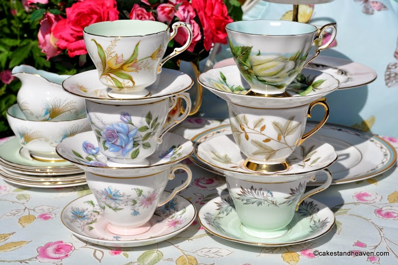 Pastels Mismatched Vintage China Tea Set and Cake Stand