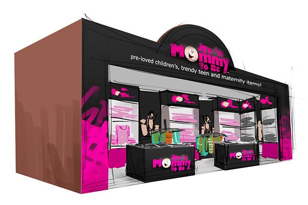trade show booth design sketch