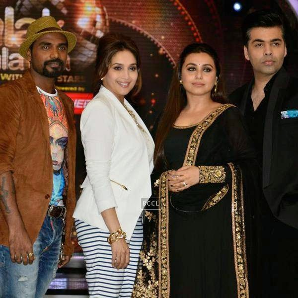 Remo D'Souza, Maduri Dixit, Rani Mukerji and Karan Johar on the sets of Jhalak Dikhhla Jaa 7.(Pic: Viral Bhayani)