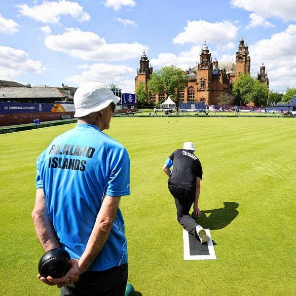 Members of the Falkland Islands Lawn Bowls team participate in a practice session at the Lawn Bowls arena in Kelvingrove Park, Glasgow on July 22, 2014, ahead of the opening of the 2014 Commonwealth Games in the city of July 23, 2014.