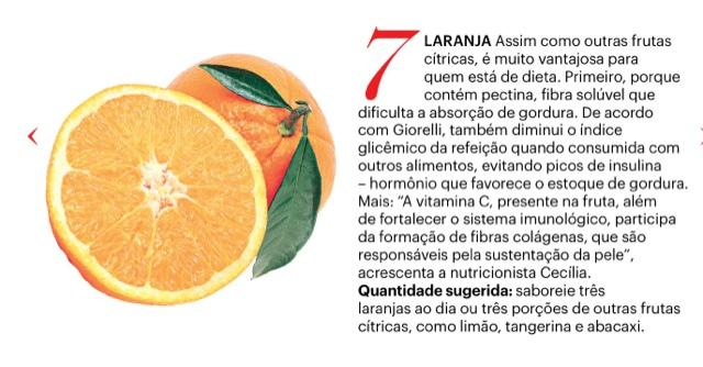 Laranja na Dieta, Propriedades para Dieta, Revista Claudia