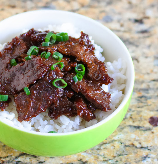 close-up photo of a bowl of Mongolian Beef