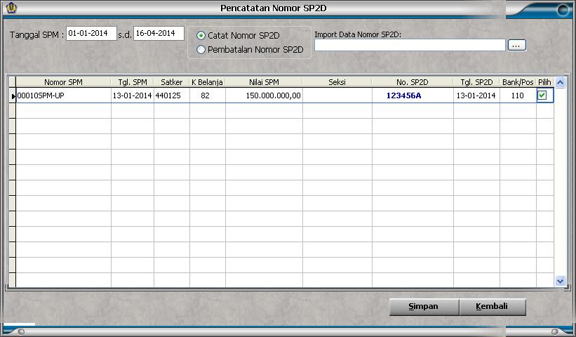 Form Pencatatan Nomor SP2D