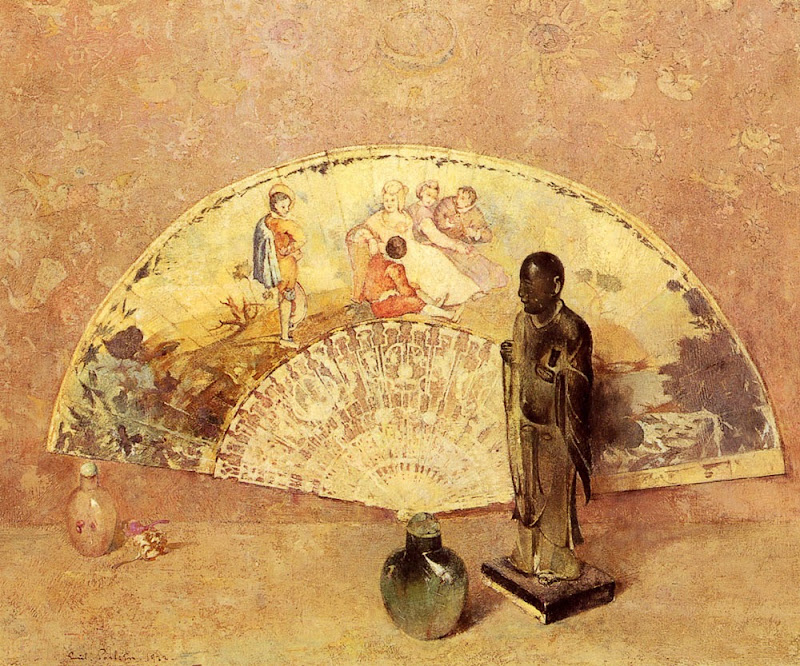 Emil Carlsen - The French Fan & Buddhist figure 1922