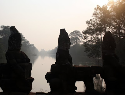 Statues at Angkor Thom in Siem Reap Cambodia