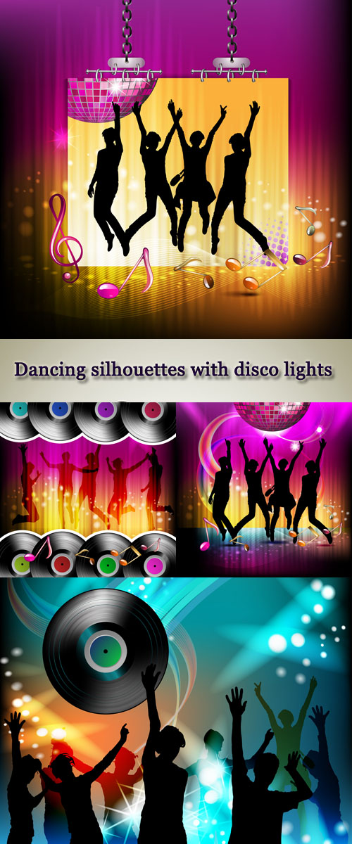 Stock: Dancing silhouettes with disco lights