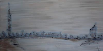 Dubai Scape   Acrylic on Canvas Stretched over deep frame - 75 x 150 cm