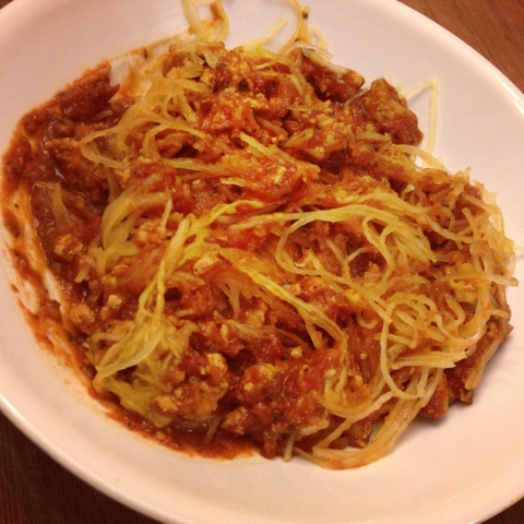 Don't Go to the Gym: Ground Turkey Meat Sauce over Spaghetti Squash