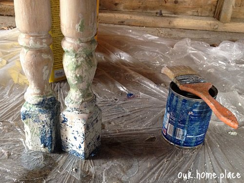 Paint Stripping Table and Bench Leg Spindles