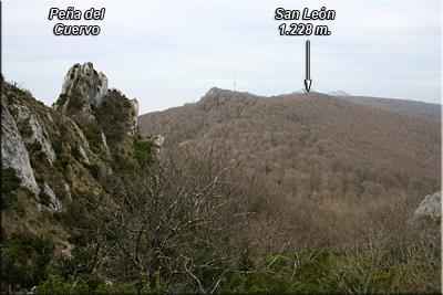 Peña del Cuervo, al fondo San León y Toloño