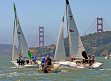 J/22's match racing off Sausalito on San Francisco Bay